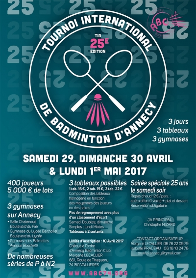 TOURNOI INTERNATIONAL D'ANNECY de BADMINTON (25ème édition)