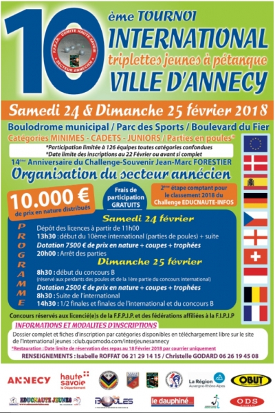 10 ème tournois international de pétanque à Annecy